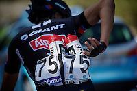 water bottles duty for Ji Cheng (CHN/Giant-Alpecin)<br /> <br /> 55th Brabantse Pijl 2015