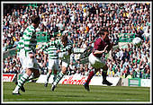 SPL - Celtic V Hearts, Celtic Park, Glasgow - Petrov tries a shot from distance ... Picture by Donald MacLeod 10.05.03
