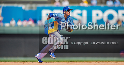25 August 2013: Kansas City Royals shortstop Alcides Escobar in action against the Washington Nationals at Kauffman Stadium in Kansas City, MO. The Royals defeated the Nationals 6-4, to take the final game of their 3-game inter-league series. Mandatory Credit: Ed Wolfstein Photo *** RAW (NEF) Image File Available ***