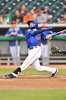 Tennessee Smokies second baseman Trent Giambrone (6) swings at a pitch during a game against the Pensacola Blue Wahoos at Smokies Stadium on August 30, 2018 in Kodak, Tennessee. The Blue Wahoos defeated the Smokies 5-1. (Tony Farlow/Four Seam Images)