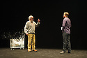 London, UK. 24.10.2014. THE WILD DUCK, by Simon Stone and Chris Ryan after Henrik Ibsen, opens at the Barbican. Picture shows: Bob (Duck), Richard Piper (Ekdal) and Dan Wyllie (Gregers Werle). Photograph © Jane Hobson.