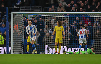 Brighton & Hove Albion's Solly March (left) celebrates scoring his side's first goal <br /> <br /> Photographer David Horton/CameraSport<br /> <br /> The Premier League - Brighton and Hove Albion v Chelsea - Sunday 16th December 2018 - The Amex Stadium - Brighton<br /> <br /> World Copyright © 2018 CameraSport. All rights reserved. 43 Linden Ave. Countesthorpe. Leicester. England. LE8 5PG - Tel: +44 (0) 116 277 4147 - admin@camerasport.com - www.camerasport.com