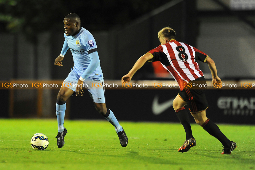 Olivier Ntcham of Manchester City controls the ball - Manchester City Under-21 vs Sunderland Under-21 - Barclays Under-21 Premier League Football at Ewen Fields, Hyde FC - 26/08/14 - MANDATORY CREDIT: Greig Bertram/TGSPHOTO - Self billing applies where appropriate - contact@tgsphoto.co.uk - NO UNPAID USE