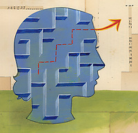 Woman solving maze puzzle inside of head