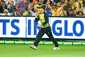 10th February 2018, Melbourne Cricket Ground, Melbourne, Australia; International Twenty20 Cricket, Australia versus England; David Warner of Australia celebrates a catch