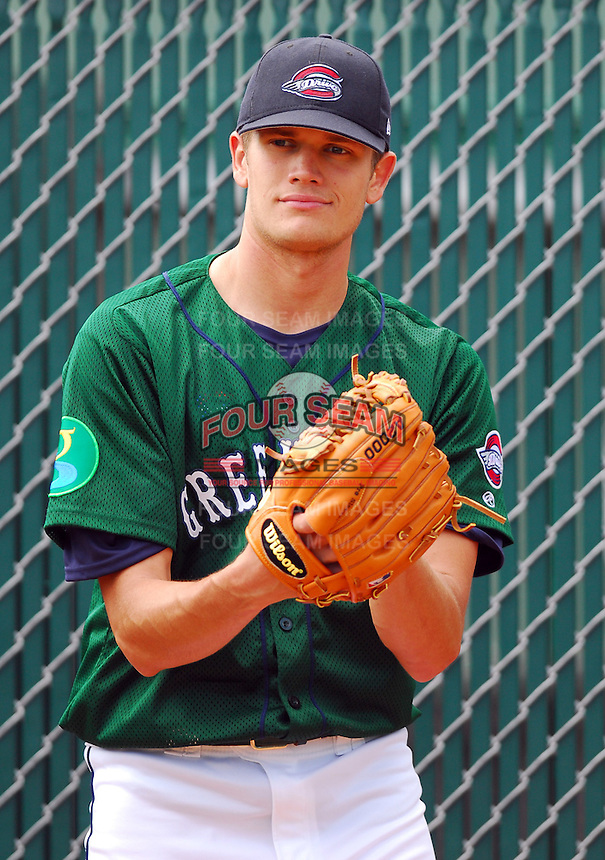 6 May 2007: Dustin Richardson from a game between the Greenville Drive, Class A affiliate of the Boston Red Sox, and the Augusta GreenJackets at West End Field in Greenville, S.C. Photo by:  Tom Priddy/Four Seam Images