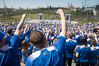 MOSCOW, RUSSIA - June 16, 2018: Iceland fans cheer during a pre-game rally at Zaryadiye park before their game against Argentina at the 2018 FIFA World Cup.