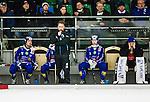 V&auml;ster&aring;s 2015-03-04 Bandy SM-Semifinal 3 V&auml;ster&aring;s SK  - Villa Lidk&ouml;ping BK :  <br /> Villa Lidk&ouml;pings tr&auml;nare Johan Sixtensson deppar vis sidan av planen med Jesper Eriksson , Erik Rosengren och m&aring;lvakt Jakob S&auml;leby  under matchen mellan V&auml;ster&aring;s SK  och Villa Lidk&ouml;ping BK <br /> (Foto: Kenta J&ouml;nsson) Nyckelord:  Bandy SM SM-Semifinal Semifinal Slutspel Elitserien ABB Arena Syd V&auml;ster&aring;s SK VSK Villa Lidk&ouml;ping depp besviken besvikelse sorg ledsen deppig nedst&auml;md uppgiven sad disappointment disappointed dejected