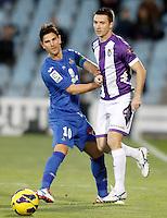 Getafe's Jaime Gavilan (l) and Real Valladolid's Antonio Rukavina during La Liga match.November 18,2012. (ALTERPHOTOS/Acero) NortePhoto
