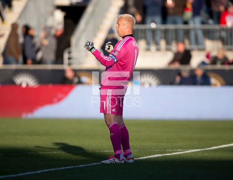 Jimmy Nielsen (1) of Sporting Kansas City celebrates a goal during a Major League Soccer game at PPL Park in Chester, PA. Sporting Kansas City defeated the Philadelphia Union, 2-1.