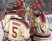 Celebrating Patrick Mullen's goal - Tom May, Mike Handza, Andrew Thomas, Mullen, J.D. Corbin - The Princeton University Tigers defeated the University of Denver Pioneers 4-1 in their first game of the Denver Cup on Friday, December 30, 2005 at Magness Arena in Denver, CO.