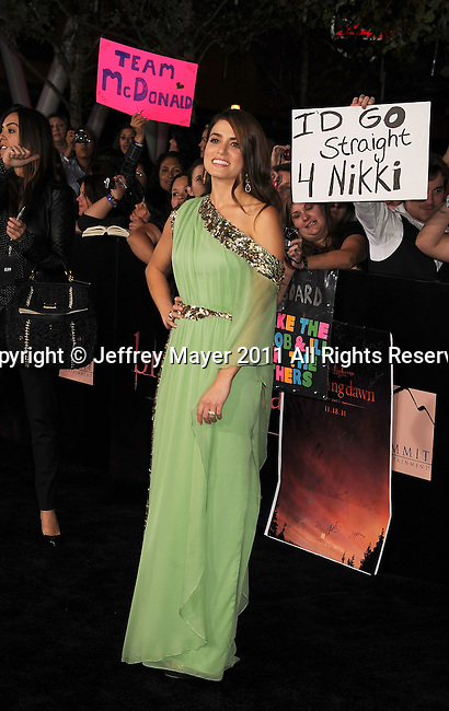 """LOS ANGELES, CA - NOVEMBER 14: Nikki Reed arrives at the Los Angeles premiere of """"The Twilight Saga: Breaking Dawn Part 1"""" held at Nokia Theatre L.A. Live on November 14, 2011 in Los Angeles, California."""