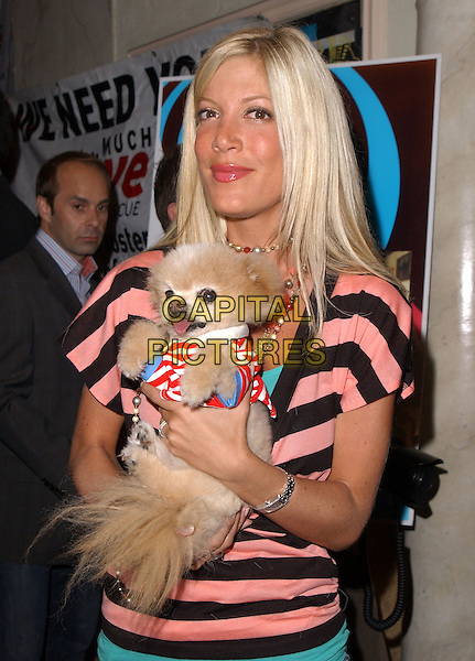 TORI SPELLING & MR. WINKLE.The 3rd Annual Much Love Animal Rescue Celebrity Comedy Benefit held at The Laugh Factory in Hollywood, California .September 29, 2004.half length, animal, pet dog, striped shirt.www.capitalpictures.com.sales@capitalpictures.com. Copyright 2004 by Debbie VanStory