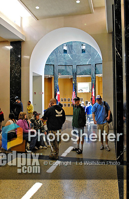 21 May 2007:  Baseball fans walk through the spaces and exhibit areas of the Baseball Hall of Fame Museum in Cooperstown, NY...Mandatory Credit: Ed Wolfstein Photo
