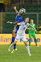 Elena Linari of Italy jumps for the ball with Marija Damjanovic of Bosnia and Herzegovina.<br /> Palermo 08-10-2019 Stadio Renzo Barbera <br /> UEFA Women's European Championship 2021 qualifier group B match between Italia and Bosnia-Herzegovina.<br /> Photo Carmelo Imbesi / Insidefoto