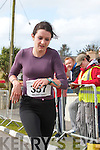 Bridget Dennehy from Cahersiveen crosses the line in the Valentia Duathlon taking first place in the Junior ladies category.