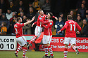 Chris Blackburn of Wrexham (2nd r) celebrates scoring with captain Dean Keates during the Blue Square Bet Premier match between Cambridge United and Wrexham at the Abbey Stadium, Cambridge on 22nd January, 2011 .© Kevin Coleman 2011