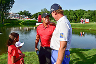 Bethesda, MD - June 26, 2016: Ernie Els (RSA) and Tiger Woods talk after Ernie's Final Round of play at the Quicken Loans National Tournament at the Congressional Country Club in Bethesda, MD, June 26, 2016.  (Photo by Don Baxter/Media Images International) (Photo by Philip Peters/Media Images International)