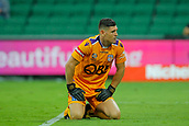 25th March 2018, nib Stadium, Perth, Australia; A League football, Perth Glory versus Melbourne Victory; Liam Reddy of the Perth Glory looks relieved as the shot at goal from Melbourne Victorys Leroy George missed the target