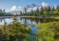 Mount Baker-Snoqualmie National Forest, WA: Morning light on Picture Lake with Mount Shuksan in the distance
