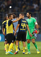 Calcio, Serie A: Inter vs Juventus. Milano, stadio San Siro, 18 settembre 2016.<br /> Juventus&rsquo; goalkeeper Gianluigi Buffon, right, greets Inter's Ivan Perisic, center, and Stevan Jovetic, at the end of the Italian Serie A football match between FC Inter and Juventus at Milan's San Siro stadium, 18 September 2016. Inter won 2-1.<br /> UPDATE IMAGES PRESS/Isabella Bonotto