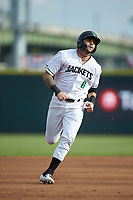 Frankie Tostado (8) of the Augusta GreenJackets hustles towards third base against the Kannapolis Intimidators at SRG Park on July 6, 2019 in North Augusta, South Carolina. The Intimidators defeated the GreenJackets 9-5. (Brian Westerholt/Four Seam Images)