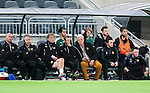 Stockholm 2015-02-16 Fotboll Tr&auml;ningsmatch Hammarby IF - LA Galaxy :  <br /> Hammarbys tr&auml;nare Nanne Bergstrand diskuterar med assisterande tr&auml;nare Patrik Hansson p&aring; avbytarb&auml;nken under matchen mellan Hammarby IF och LA Galaxy <br /> (Foto: Kenta J&ouml;nsson) Nyckelord:  Fotboll Tr&auml;ningsmatch Tele2 Arena Hammarby HIF Bajen Los Angeles LA Galaxy tr&auml;nare manager coach diskutera argumentera diskussion argumentation argument discuss