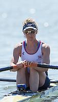 Brandenburg. GERMANY.<br /> GBR LW1X. Imogen WALSH at the start of her heat. 2016 European Rowing Championships at the Regattastrecke Beetzsee<br /> <br /> Friday  06/05/2016<br /> <br /> [Mandatory Credit; Peter SPURRIER/Intersport-images]