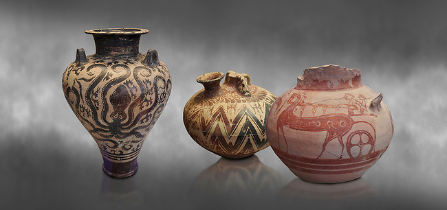 Mycenaean pots and vases depicting octopuses and Mycenaean chariots, National Archaeological Museum Athens. Grey art Background <br /> <br /> Left: Three handled Palace Style Mycenaean amphora with octpuses and marinescape decorations motifs, Mycenaean cemetery, Argive Prosymna, tomb 2, 15 cnt BC,  Cat no 6725. <br /> <br /> Middle: Mycenaean three handled styrup jar with painted zig zag  and double axesdesigns, Tholos tomb 2 , Myrsinochori, Messenia, 15th cent BC. Cat No 8376.<br /> <br /> Right:Mycenaean pictorial Krater decorated with a horse and chariot, Tiryns Acropolis - 12-14th cent BC.  Cat No 115.