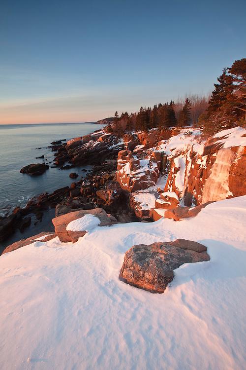 View of rugged granite coastline along Ocean Drive on Mount Desert Island, Acadia National Park, Maine, USA