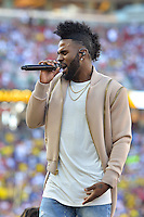Santa Clara, CA - Friday June 03, 2016: Jason Derulo performs during pre-game ceremonies prior to the start of a Copa America Centenario Group A match between United States (USA) and Colombia (COL) at Levi's Stadium.