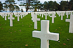 Grave markers at the Normandy American Cemetery and Memorial, Colleville-sur-Mer, France.