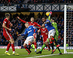 01.02.2020 Rangers v Aberdeen: Alfredo Morelos backs into keeper Joe Lewis who takes ages to recover