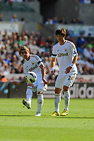Saturday 22 September 2012 <br /> Pictured: Pablo Hernandez and Ki Sung Yueng<br /> Barclays Premiership, Swansea City v Everton at the Liberty Stadium, south Wales.
