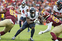 Landover, MD - November 18, 2018: Houston Texans running back Lamar Miller (26) runs the ball during the  game between Houston Texans and Washington Redskins at FedEx Field in Landover, MD.   (Photo by Elliott Brown/Media Images International)