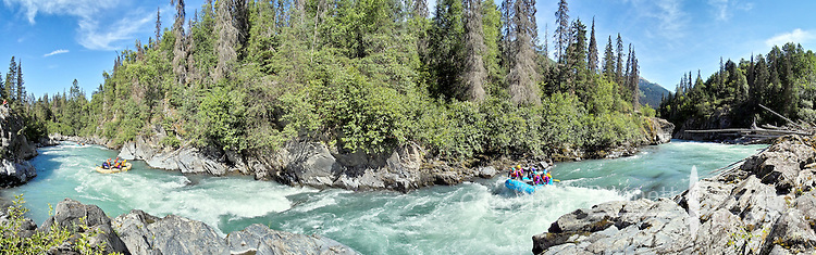 The rapids of Six Mile Creek, located about 50 miles from Anchorage, Alaska, are a favorite of white water boaters.