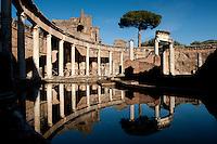 World Heritage listed Villa Adriana, Tivoli, Italy, details of the Maritime Theatre