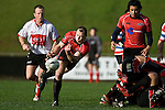 Kevin Farrell clears from a ruck. Air New Zealand Air NZ Cup warm-up rugby game between the Counties Manukau Steelers & Tasman Mako's, played at Growers Stadium Pukekohe on Sunday July 20th 2008..Counties Manukau won the match 30 - 7.