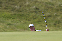Marcus Kinhult (SWE) chips from a bunker at the 3rd green during Thursday's Round 1 of the Dubai Duty Free Irish Open 2019, held at Lahinch Golf Club, Lahinch, Ireland. 4th July 2019.<br /> Picture: Eoin Clarke | Golffile<br /> <br /> <br /> All photos usage must carry mandatory copyright credit (© Golffile | Eoin Clarke)