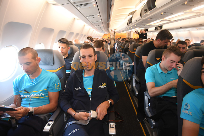 Vincenzo Nibali (ITA) and Astana team pictured on their way from Amsterdam to the airport at Lamezia Terme in the far south of Italy, and then Catanzaro, the start town for Stage 4 tomorrow, The Netherlands. 9th May 2016.<br /> Picture: ANSA/Claudio Peri | Newsfile<br /> <br /> <br /> All photos usage must carry mandatory copyright credit (&copy; Newsfile | ANSA/Claudio Peri)