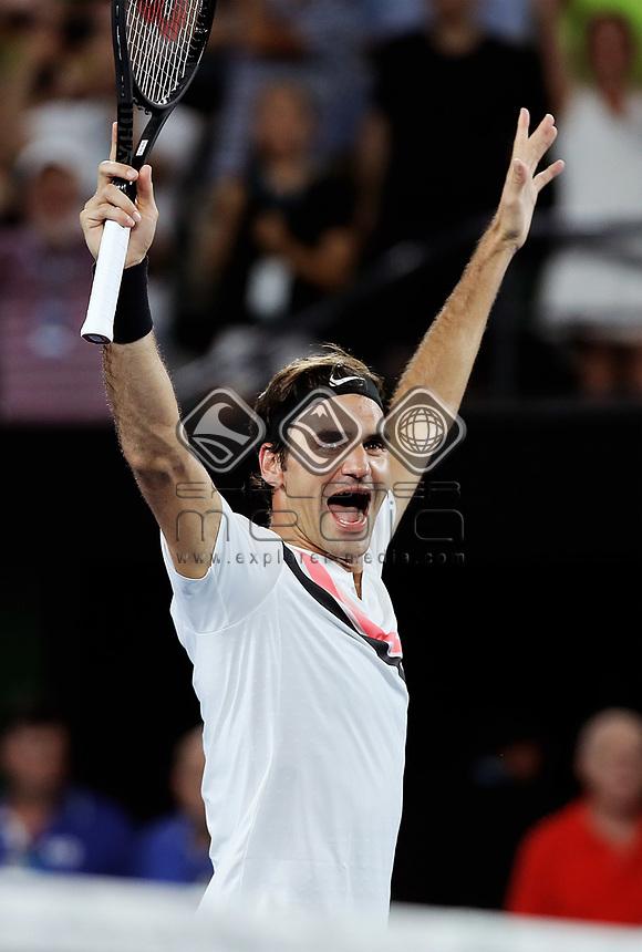 MELBOURNE,AUSTRALIA,28.JAN.18 - TENNIS - ATP World Tour, Grand Slam, Australian Open. Image shows the rejoicing of Roger Federer (SUI). Photo: GEPA pictures/ Matthias Hauer / Copyright : explorer-media