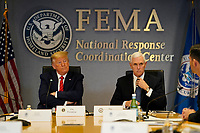 United States President Donald J. Trump and US Vice President Mike Pence visit the Federal Emergency Management Agency headquarters, Thursday, March 19, 2020, in Washington, DC.<br /> Credit: Evan Vucci / Pool via CNP/AdMedia