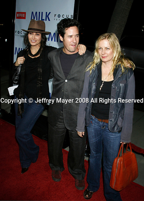 """BEVERLY HILLS, CA. - November 13: Actors Gina Gershon, Rob Morrow and wife Debbon Ayer arrive at the Los Angeles Premiere of """"Milk"""" at the Academy of Motion Pictures Arts and Sciences on November 13, 2008 in Beverly Hills, California."""
