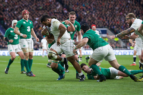 27.02.2016. Twickenham, London, England. RBS Six Nations Championships. England versus Ireland. England number 8 Billy Vunipola runs with the ball.
