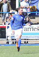 Michael Doyle after scoring in the SPFL Ladbrokes Championship Play Off semi final match between Queen of the South and Montrose at Palmerston Park, Dumfries on  11.5.19.