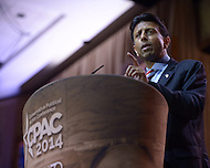 National Harbor, MD - March 6, 2014: Gov. Bobby Jindal (R-LA) addresses attendees of the 2014 Conservative Political Action Conference held at National Harbor, MD March 6, 2014.   (Photo by Don Baxter/Media Images International)