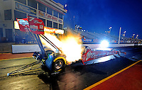 Jan 25, 2009; Chandler, AZ, USA; NHRA top fuel dragster driver Brandon Bernstein launches off the starting line during testing at the National Time Trials at Firebird International Raceway. Mandatory Credit: Mark J. Rebilas-