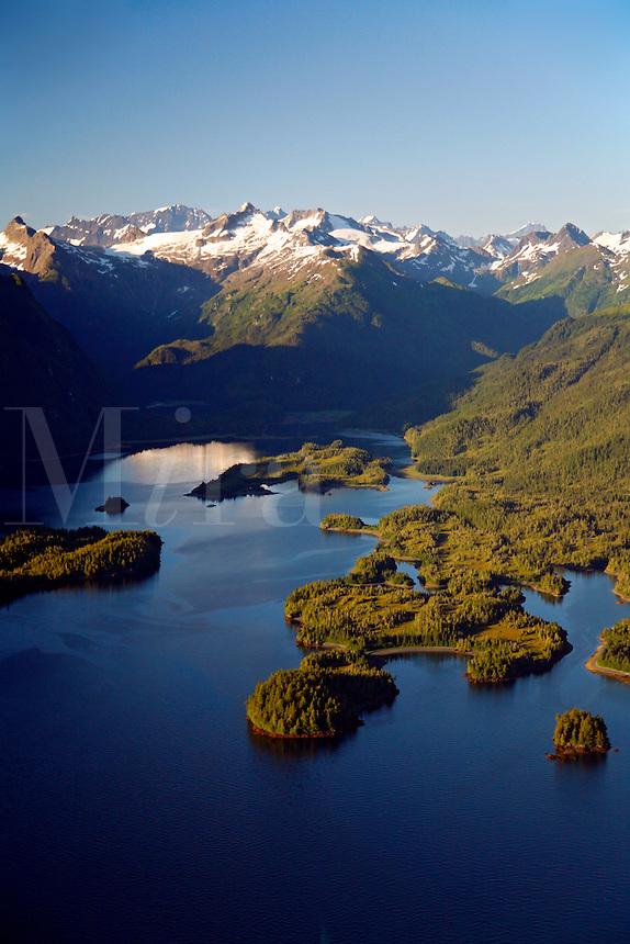 Aerial of Sheep Bay, Prince William Sound, Chugach National Forest, Alaska.