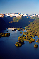 Aerial of Sheep Bay, Prince William Sound, Chugach National Forest, Alaska.