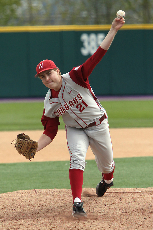 Paris Shewey, Washington State junior relief pitcher, fires to the plate during the Cougars Pac-10 conference baseball game against arch-rival Washington in Seattle, Washington, on April 3, 2010.